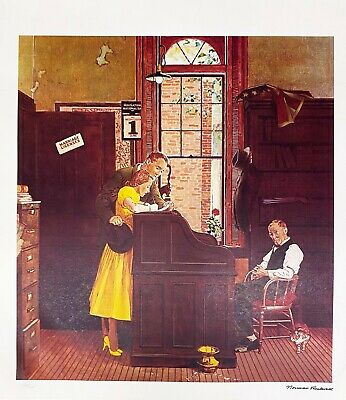 $ CDN99.06 • Buy NORMAN ROCKWELL 1978 Signed Limited Edition Litho MARRIAGE LICENSE FREE SHIP