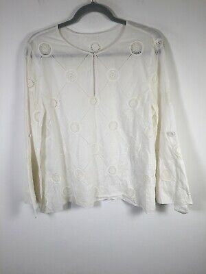 AU59.95 • Buy Scanlan Theodore Womens White Broderie Long Sleeve T Shirt Blouse Size 10 Cotton