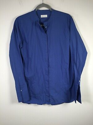 AU74.95 • Buy Scanlan Theodore Womens Blue Button Up Shirt Size 12 Snared Collared Long Sleeve