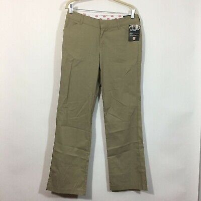 £10.18 • Buy Dickies Work Pants Women Size 10 Tan RELAXED Fit Mid Rise Straight Leg Twill