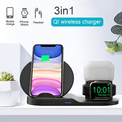 AU15.88 • Buy 3in1 Qi Wireless Charger Fast Charging Dock Stand For Airpods Apple Watch IPhone