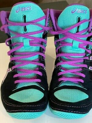 $ CDN24.18 • Buy Asics Cael V7.0 Wrestling Shoes Black/Orchid/Turquoise Size 11.5 RARE Color