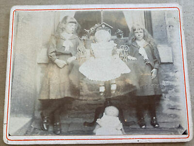 Victorian Small Cabinet Card Photo Two Girls W/ Dolls & Doll Furniture 11x8.5cm • 6.99£