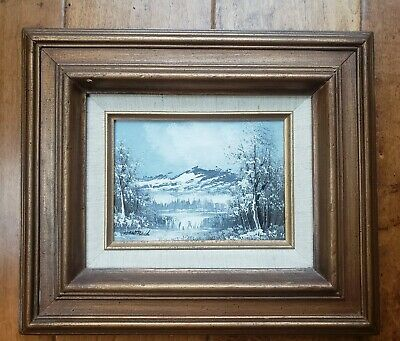 $ CDN120.94 • Buy Phillip Cantrell Signed Oil Painting Canvas Winter Mountain 1960s 14x12  Framed