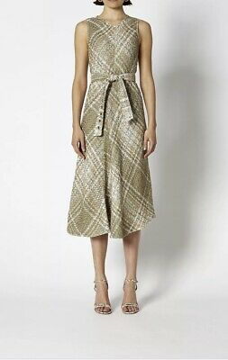 AU95 • Buy Scanlan Theodore Khaki Tweed Plaid Dress Size AU 10 Only Worn Once Drycleaned