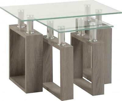 £78.82 • Buy Milan Nest Of Tables In Light Charcoal Veneer Glass Silver