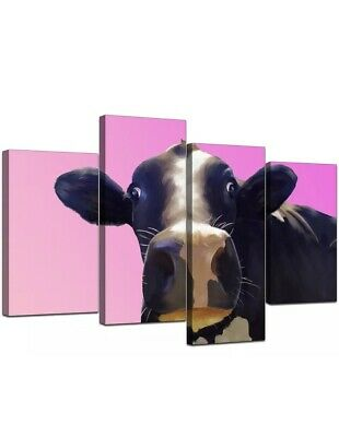 £17 • Buy Large Pink Cow Bedroom Canvas Wall Art Pictures
