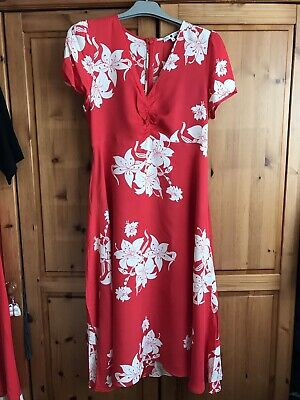 AU8.16 • Buy Marks And Spencer M&s Alexa Chung Red Floral Tea Dress Uk 8 Holly Willoughby