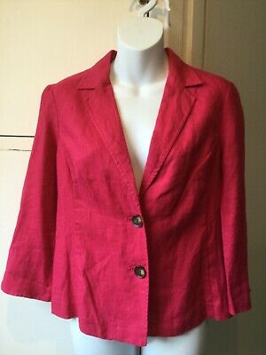 £7.99 • Buy Lovely EAST Hot Pink Ladies Linen Jacket Three Quarter Length Sleeves Size 10