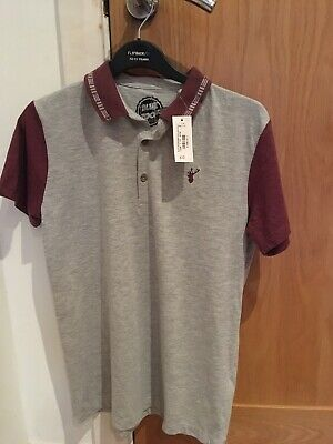 New Boys Blue Zoo Grey And Plum Short Sleeved Polo Shirt Age 11-12 Years • 4.99£