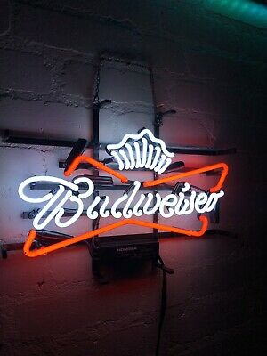$ CDN230.19 • Buy Budweiser Glass Neon Light With Crown Sign Beer Bar Man Cave Garage Pub