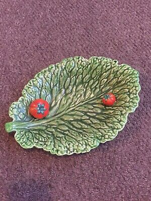 £5 • Buy Antique Sarreguemines Cabbage Leaf W/tomatoes Dish France 5155 Majolica
