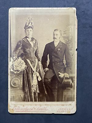 £6 • Buy Victorian Photo: Cabinet Card: Wedding Bride Groom Named 1887: Jersey 1887