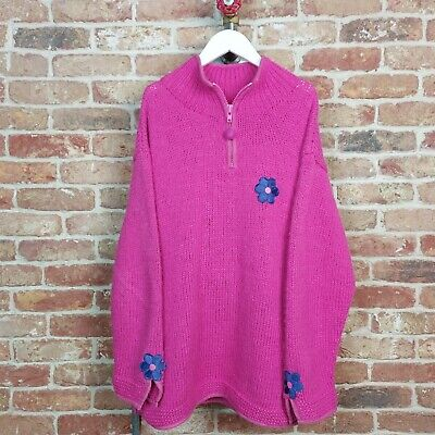 PACHAMAMA Jumper Chunky Knit Daisy Pink Hippy 1/4 Zip Flower Power Amano M/L • 89.99£