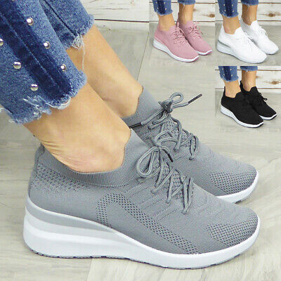 £14.99 • Buy Sock Trainers Ladies Shoes Sneakers Lace Up Wedge Womens Pumps Comfy Casual Size