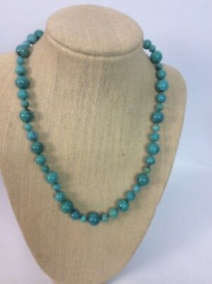"""$ CDN145.18 • Buy Whitney Kelly  WK Sterling Silver  925 Round Turquoise Bead Necklace 18"""""""
