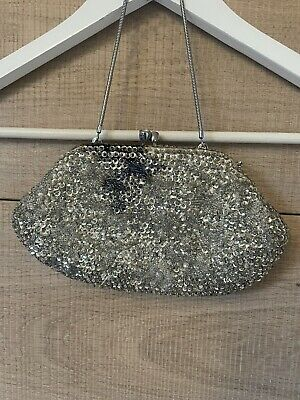 £5 • Buy Vintage Silver Clutch Bag With Handle Ink Stained Diamond Opening