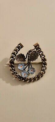 Vintage Horseshoe Brooch With Blue Forget Me Nots • 25£