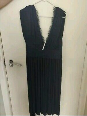 AU50 • Buy ASOS Lace Inserted Pleated Navy Dress Size 12