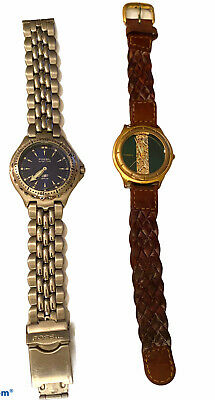 $25 • Buy 2 FOSSIL Watches Lot Steel Men's Women's Gold Tone Leather - Repair Parts Only