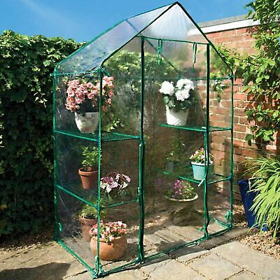 £29.99 • Buy Mini Walk In Greenhouse Cold Frame With Shelving Reinforced Cover Outdoor Garden