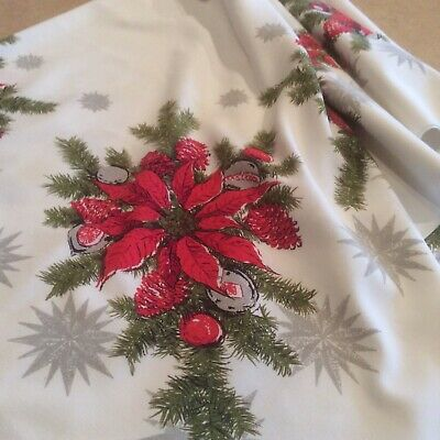 $ CDN26.69 • Buy Vintage Christmas Tablecloth Poinsettias Pine Silver Metallic MCM 52 X60""