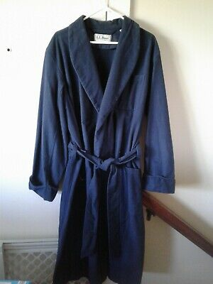 $47.99 • Buy LL Bean Flannel Chamois Bath Robe Wrap Style NAVY Belted  Mens LARGE 3 Pocket