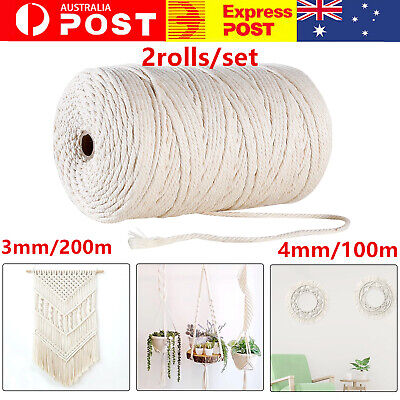 AU17.17 • Buy 2Rolls 200M Macrame Rope Natural Beige Cotton Twisted Cord Artisan Hand Craft AU
