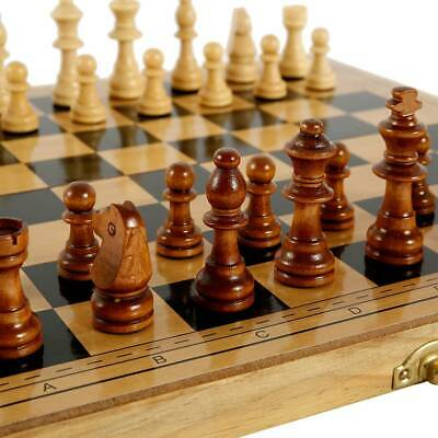 £13.49 • Buy Large Chess Wooden Set Folding Chessboard Backgammon Draughts Wood Board Game UK
