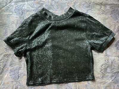 £5 • Buy Topshop Crop Top Sparkly Green Party Disco Baby Tee Petite 4 6 8 S XS Club Cute