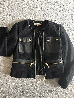 £70 • Buy Michael Kors Bouclé Jacket Blazer W/ Real Leather Accents And Gold Zips US6 UK10