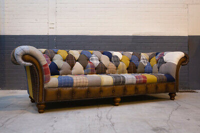 £1495 • Buy Handmade Large 4 Seater Multi Colour Wool & Leather Patchwork Chesterfield Sofa