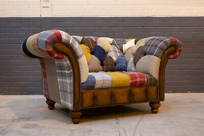£995 • Buy Handmade Multi Colour Wool & Leather Patchwork Chesterfield Snuggle Chair