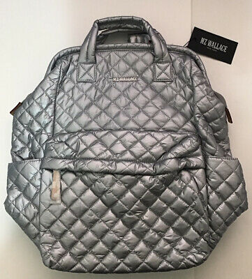 $260 • Buy NWT MZ Wallace Tin Metallic Quilted Nylon Top Handle Backpack MSRP$275