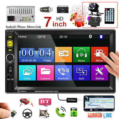 £48.99 • Buy 7  Double 2 DIN Bluetooth Car Radio Stereo FM AUX MP5 Player Touch Screen + Cam