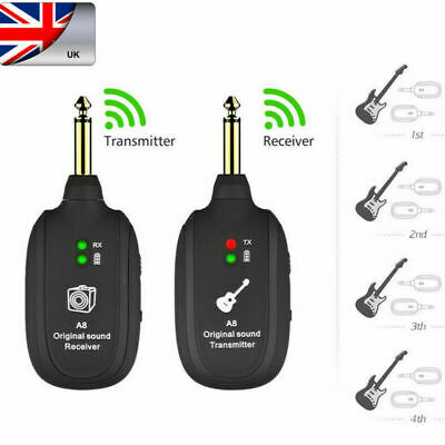 £13.99 • Buy UHF Wireless Guitar System Transmitter & Receiver Rechargeable Battery 50M Range