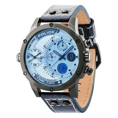£119.93 • Buy Police Dual Time Big Face Men's Watch Steel Leather Blue Dial R1451253003