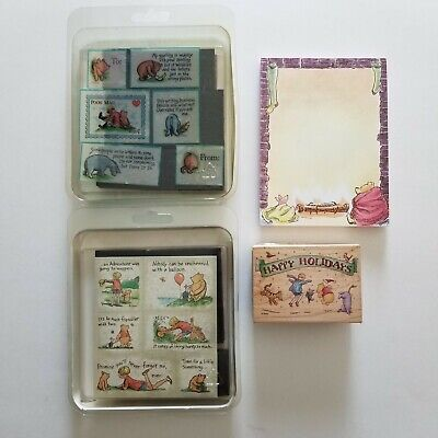 $35.99 • Buy Winnie The Pooh Lot Poohisms, Pooh Mail, Happy Holiday Stamps & Note Pad