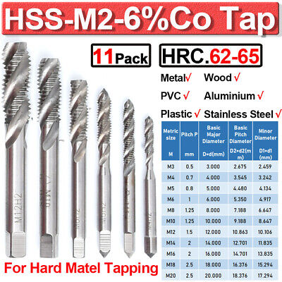 $7.88 • Buy 1-11PCS HSS-M2 Spiral Metric Tap Right Hand Thread Cutter Taps Stainless Steel