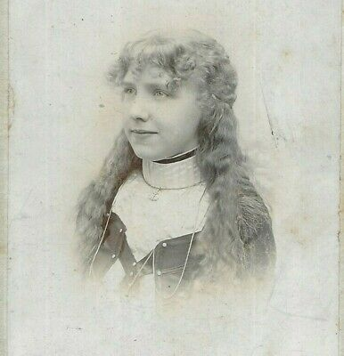 £10.99 • Buy Cabinet Card Photo Pretty Girl Long Hair Willmer Studio Wibsey Yorkshire