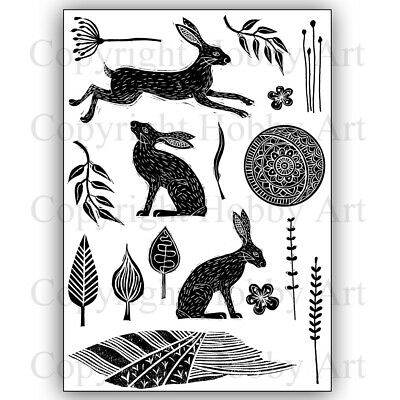 £14.99 • Buy Hobby Art Stamps - Lino Cut Hares