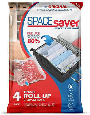 £7.23 • Buy Spacesaver 4 X Premium Travel Roll Up Compression Storage Bags For Suitcases - -