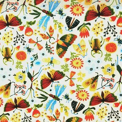 £3.69 • Buy Polycotton Fabric 45  Wide Garden Insects Butterfly Beetle Flowers