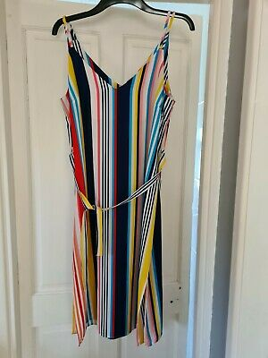 £3 • Buy New Look Size 12 Strappy Belted Calf Length Striped Dress