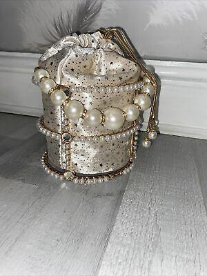 £20 • Buy Pearl Diamond Cage Bag With Cream Star Pouch/ Pearl Strap And Long Chain Strap