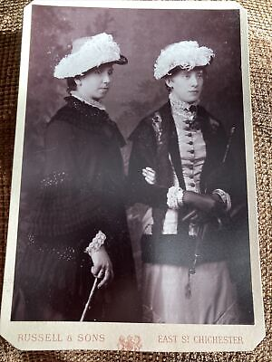 £4.99 • Buy Victorian Cabinet Card Photo Women In Feather Hats Fashion - Russell, Chichester