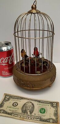 £503.79 • Buy Antique German Musical Singing Birds Cage Automaton Music Box Wind Up Red Yellow