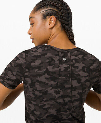 $ CDN71.58 • Buy Lululemon Long Distance Short Sleeve 4 Heritage Camo Jacquard Black Lunar Rock