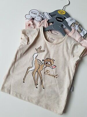 £7.99 • Buy Disney Bambi And Thumper Baby Girl T-shirts Set Of 3 For 9-12months NEW