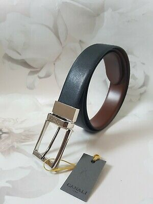 £49.80 • Buy CANALI Men's Reversible Black & Brown Leather Belt SIZE 90